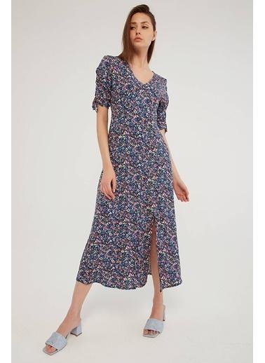 Modaset Yırtmaçlı Çiçek Desen Elbise  Mavi